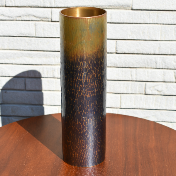 Artist Hand-hammered Copper, Ikebana Vase/Blue Patina - Alfan Select