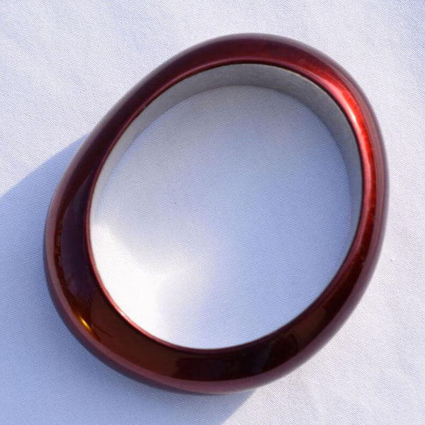 Urushi Bordeaux-red Bangle Oval Shape