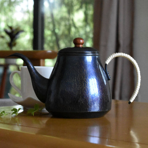 Hand-Hammered Copper Coffee Pot | Blue Patina