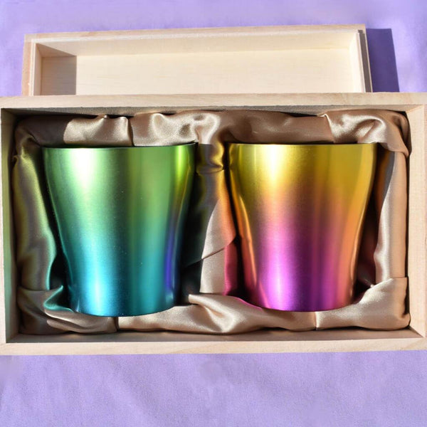 Neon Light Blue Pink Titanium Tumblers in Wooden Gift Box