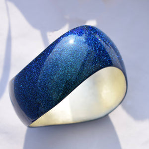 Japan Fine Craft Urushi Lacquer Deep Blue Bangle Jewelry