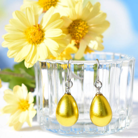 Urushi Lacquer Lemon Gold Pierced Earrings Japan With Yellow Flowers