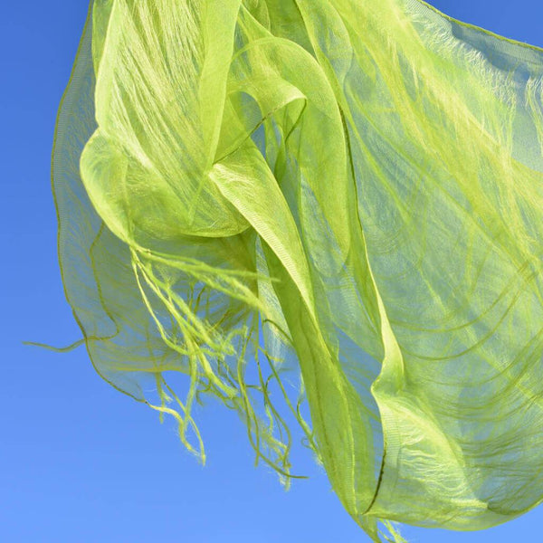 Matcha-Green Hand Dye Silk Scarf Japan with Blue Sky