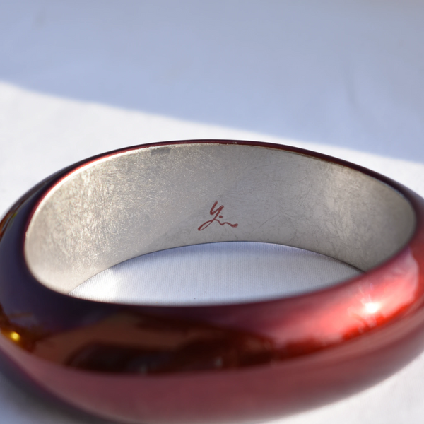 Satiny Urushi  Bordeaux Red Bangle Designer Name Rie