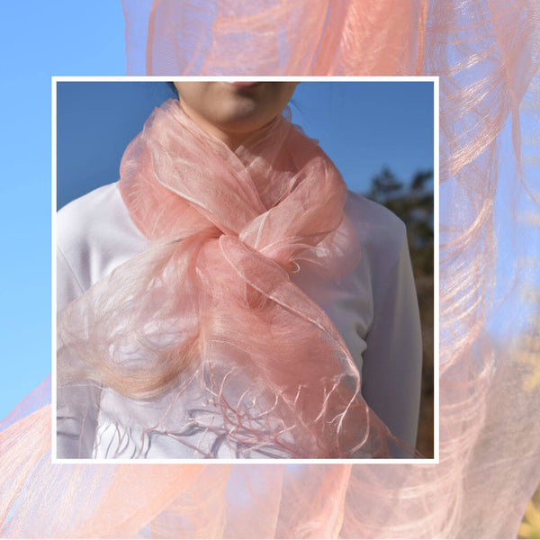 Sakura Pink Silk Stole on Model Wearing White Shirt