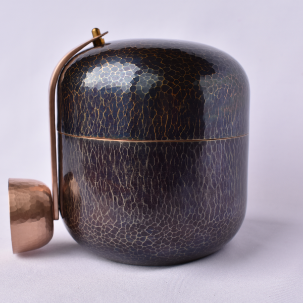 Hand-hammered, Copper, Coffee Bean Canister/Blue Patina - Alfan Select