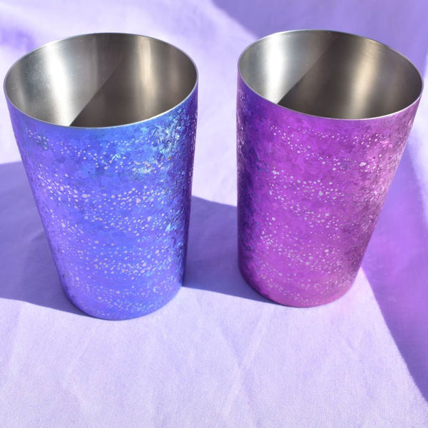 Silverfish-looking Inside Of Sparkle Blue and Pink Titanium Metal Craft Beer Tumblers.