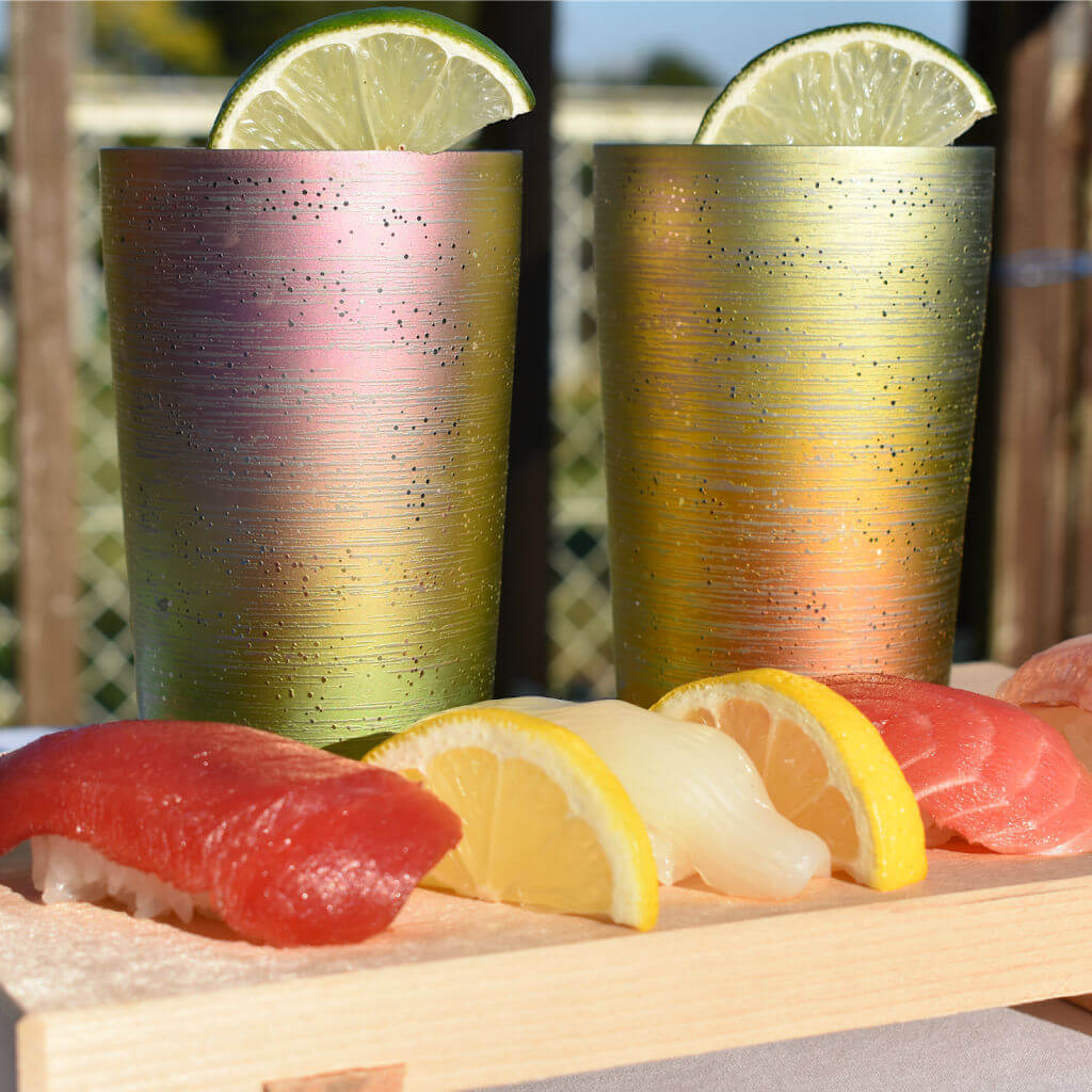 Light Reflective Pink Yellow Green Pastel Gradation Cocktail Tumblers with Lime and Sushi