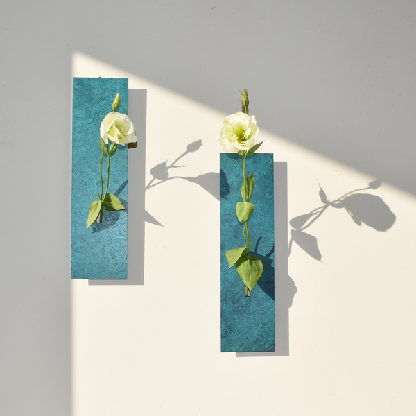 Ikebana Mini Wall Vase: Copper Patina, Orii Blue - Alfan Select