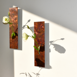 Ikebana Mini Wall Vase: Copper Patina, Orii Russet - Alfan Select