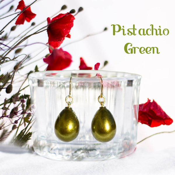 Japanese Urushi Lacquer Pistachio Green Pierced Earrings and Red Flowers