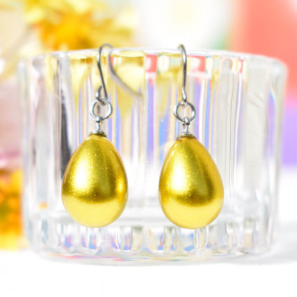 Rei Sakamoto Urushi Jewelry Lemon Gold Pierced Earrings Japan