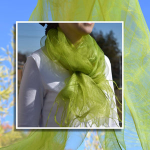Matcha Green Silk Stole Around Model's Shoulders