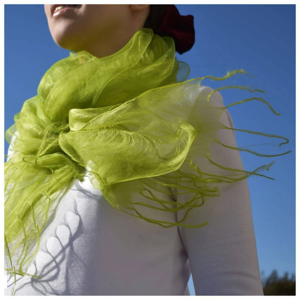 Matcha-Green Silk Scarf Blowing Around the Model's Shoulders