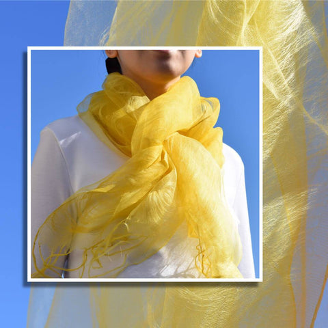Bright Sunny Yellow Silk Scarf On Model with White Shirt