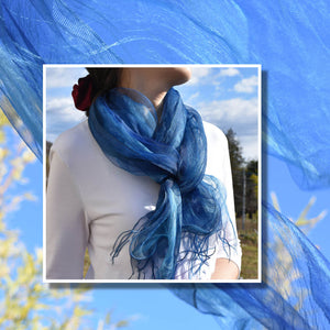 Japan Indigo Blue Silk Scarf on Model in Wind