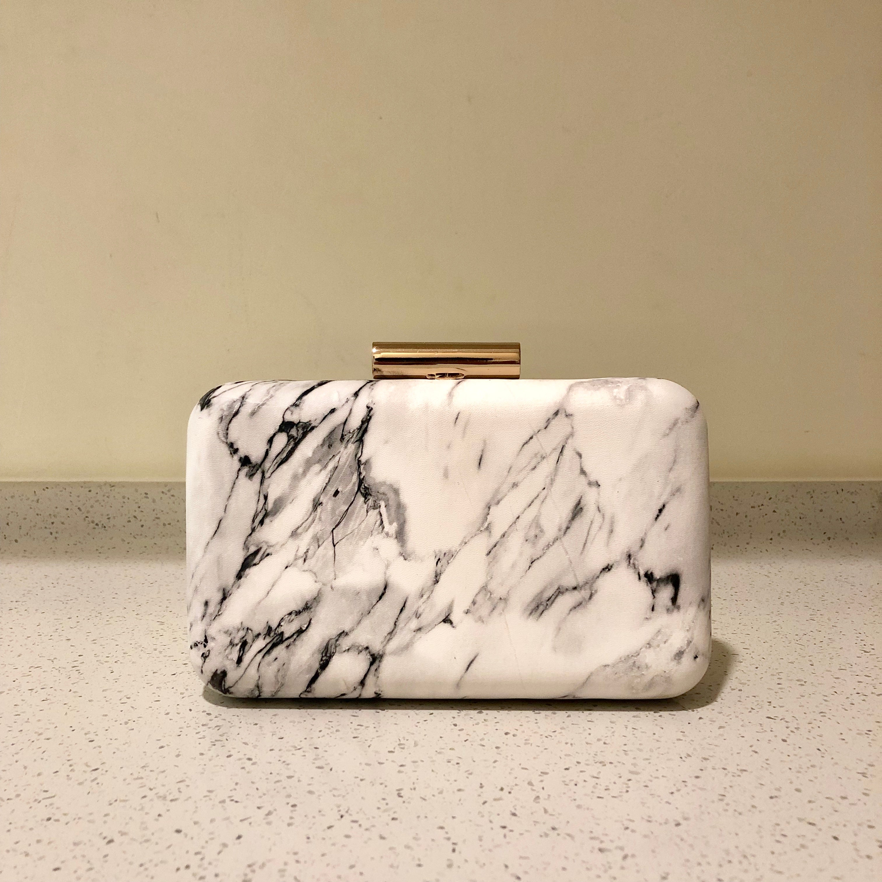 Marble Clutch White