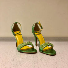 Load image into Gallery viewer, Crystine Heels Green