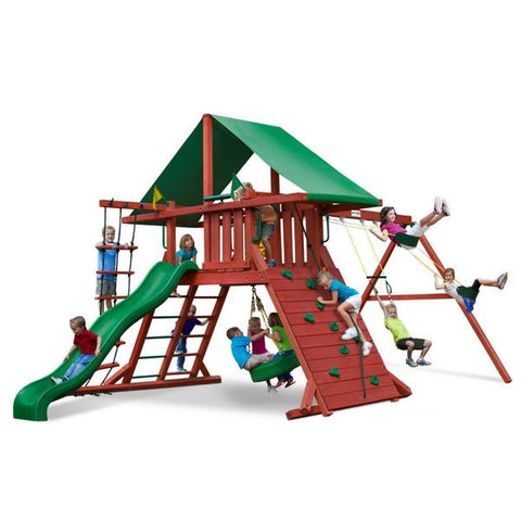 Gorilla Sun Valley Cedar Swing Set With Redwood Finish & Roof - Jumpin Jungle