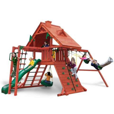 Gorilla Sun Palace Swingset In Amber Finish With Standard Wood Roof - Jumpin Jungle