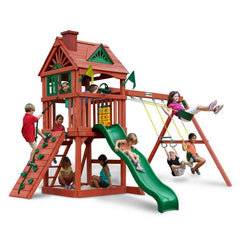 Gorilla Nantucket Swing Set In Cedar Redwood Finish With Telescope - Jumpin Jungle