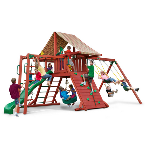 Gorilla Sun Climber Redwood Cedar Swingset With Sunbrella® Roof - Jumpin Jungle