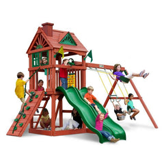 Gorilla Double Down Factory Built Swing Set W/ Telescope & Wave Slide - Jumpin Jungle