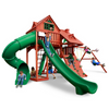 Image of Gorilla Sun Palace Swingset In Amber Finish With Standard Wood Roof - Jumpin Jungle