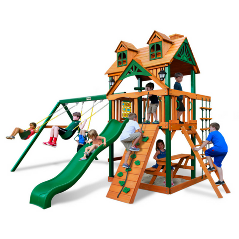 Gorilla Chateau Swingsets In Natural Cedar Or Timber Shield™ Post - Jumpin Jungle