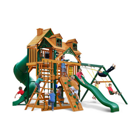 Gorilla Great Skye I Swingset W/Sunbrella, Malibu And Treehouse Roof - Jumpin Jungle