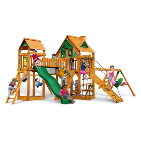 Gorilla Pioneer Peak Swingset W/Sunbrella, Malibu, Treehouse And Fort - Jumpin Jungle