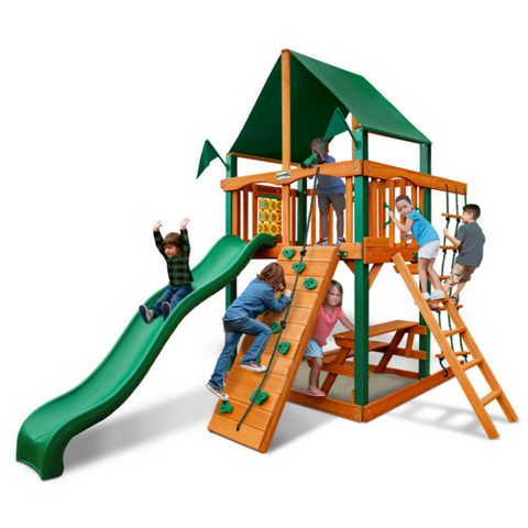 Gorilla Chateau Tower Grade Cedar Swing Set With Roof - Jumpin Jungle