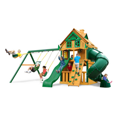 Gorilla Mountaineer Clubhouse Swingset W/Sunbrella, Malibu & Treehouse - Jumpin Jungle