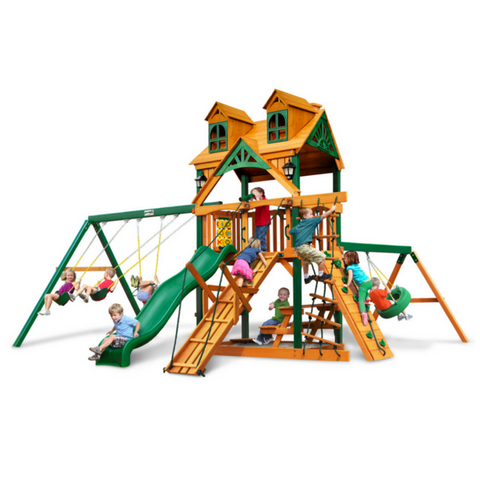Gorilla Frontier Swingsets In Natural Cedar Or Timber Shield™ W/Slides - Jumpin Jungle