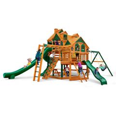 Gorilla Empire Swing Set W/ Timber Shield With 3 Slides - Jumpin Jungle