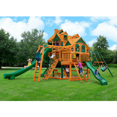 Gorilla Empire Swing Set W/ Timber Shield With 3 Slides