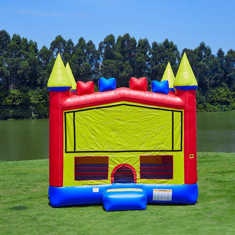 Jumporange Rainbow Cloud Bricks Castle Bounce House Mega 13′ X 13′ - Jumpin Jungle