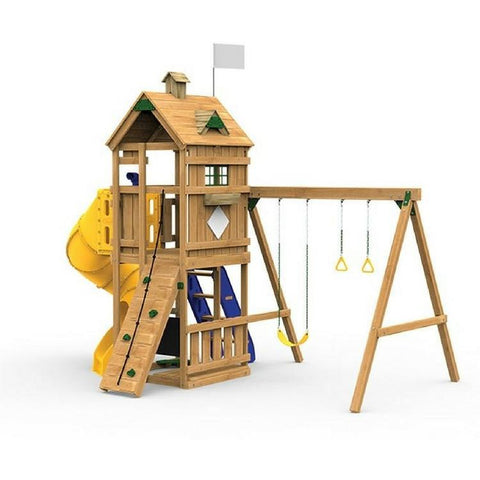 Playstar Trainer Gold Factory Built Wooden Playset W/Spiral Tube Slide - Jumpin Jungle