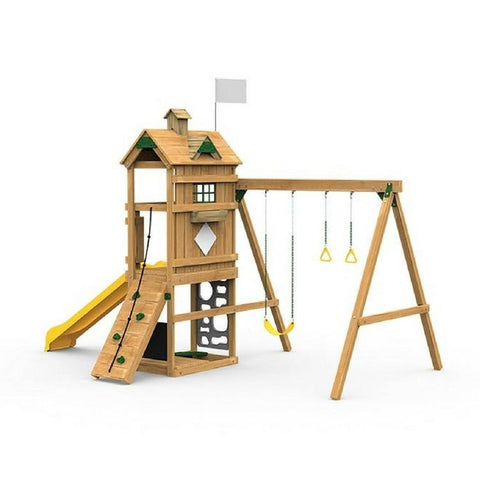 Playstar Trainer Bronze Factory Built Wooden Playset W/Climber & Slide - Jumpin Jungle