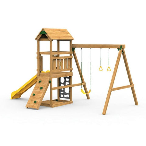 Playstar Trainer Factory Built Wooden Playset With Slide And Swing - Jumpin Jungle