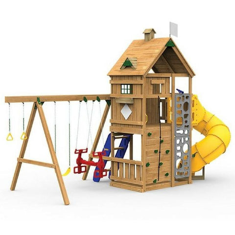 Playstar Legacy Gold Factory Built Wooden Playset W/Air Rider & Slide - Jumpin Jungle