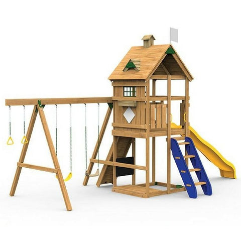 Playstar Legacy Bronze Factory Built Wooden Playset W/Swing Hangers - Jumpin Jungle