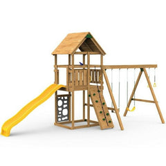 The Playstar Legacy Starter Factory Built Wooden Playset W/Rigid Swing - Jumpin Jungle