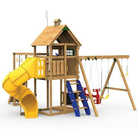 Playstar Contender Gold Factory Built Playset W/300 Degree Tube Slide - Jumpin Jungle