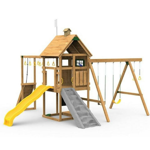 Playstar Contender Silver Factory Built Playset With Scoop Wave Slide - Jumpin Jungle
