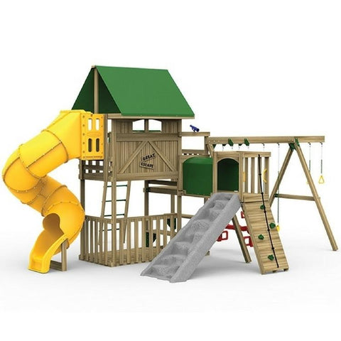 Playstar Great Escape Gold Factory Built Wooden Playset W/Fun Tunnel - Jumpin Jungle