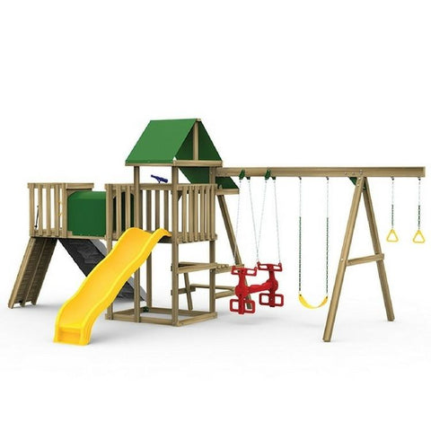 Playstar Varsity Gold Factory Built Wooden Playset With Play Handles - Jumpin Jungle