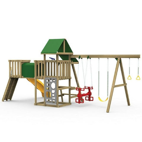 Playstar Varsity Silver Factory Built Wooden Playset With Air Rider - Jumpin Jungle