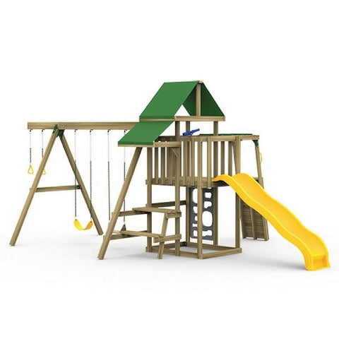 Playstar Varsity Bronze Factory Built Wooden Playset W/ Climbing Bars - Jumpin Jungle