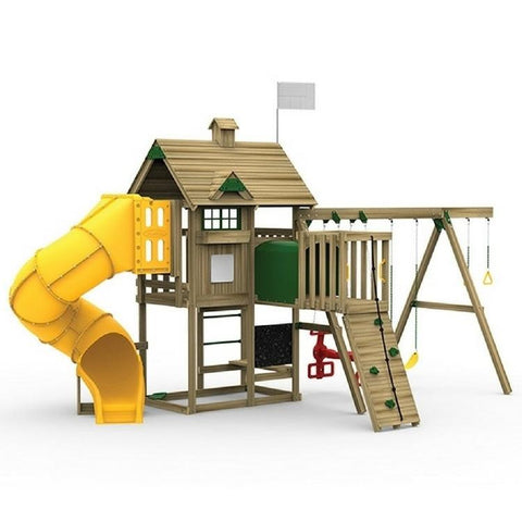 Playstar All Pro Gold Factory Built Wooden Playset With Decorative Kit - Jumpin Jungle